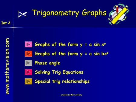 Created by Mr. Lafferty Graphs of the form y = a sin x o Trigonometry Graphs www.mathsrevision.com Int 2 Graphs of the form y = a sin bx o Phase angle.