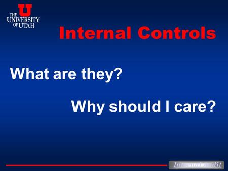 Internal Controls What are they? Why should I care?