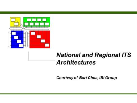 National and Regional ITS Architectures Courtesy of Bart Cima, IBI Group.