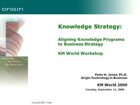 Copyright 2000 – Origin Knowledge Strategy: Aligning Knowledge Programs to Business Strategy KM World Workshop Peter H. Jones, Ph.D. Origin Technology.
