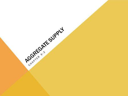 AGGREGATE SUPPLY CHAPTER 9-2. AGGREGATE SUPPLY The aggregate supply curve shows the relationship between the aggregate price level and the quantity of.