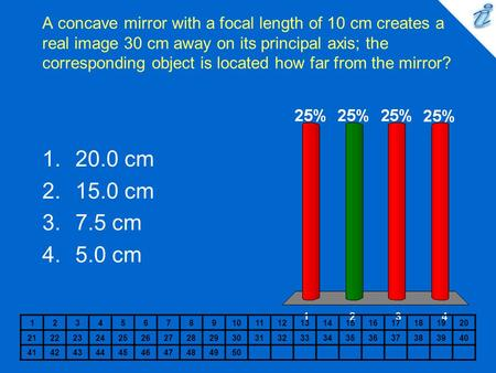 A concave mirror with a focal length of 10 cm creates a real image 30 cm away on its principal axis; the corresponding object is located how far from the.