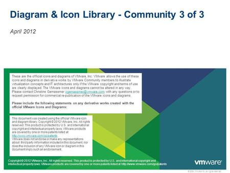 © 2009 VMware Inc. All rights reserved Diagram & Icon Library - Community 3 of 3 April 2012 Copyright © 2012 VMware, Inc. All rights reserved. This product.