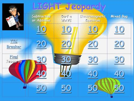 LIGHT Jeopardy Subtractive or Additive Surf a WAVE Electromagnetic Spectrum Mixed Bag 10 TIE Breaker 20 Final Final Jeopardy Final 30 40 50.