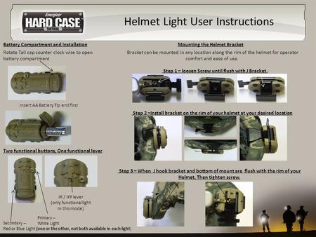 Helmet Light User Instructions Rotate Tail cap counter clock wise to open battery compartment IR / IFF lever (only functional light In this mode) Two functional.