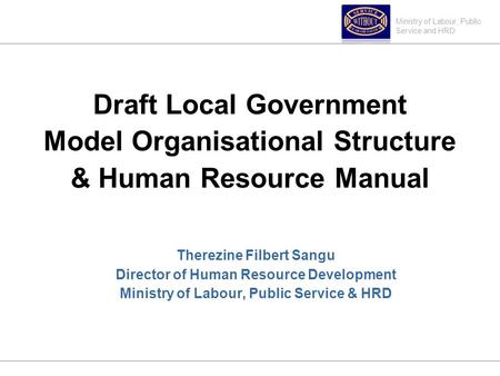 Ministry of Labour, Public Service and HRD Draft Local Government Model Organisational Structure & Human Resource Manual Therezine Filbert Sangu Director.