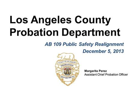 AB 109 Public Safety Realignment December 5, 2013.