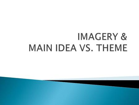  I magery: words or phrases that appeal to the senses and conjure up mental images. Imagery helps readers imagine the sights, sounds, smells, tastes,
