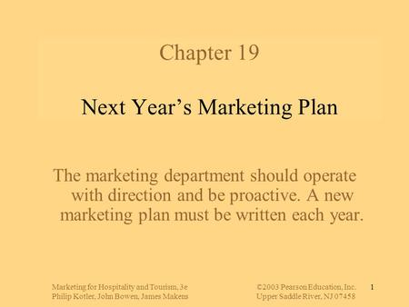 Chapter 19 Next Year's Marketing Plan