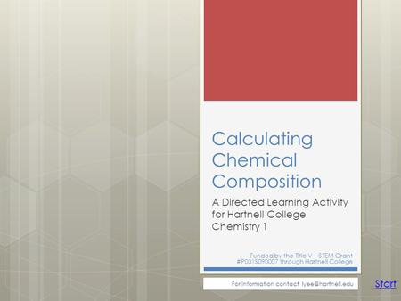 Calculating Chemical Composition