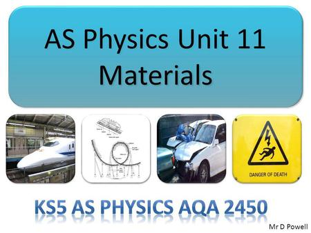 AS Physics Unit 11 Materials Mr D Powell. Mr Powell 2009 Index Chapter Map Common misconceptions Don't be overwhelmed by the large number of new terms.