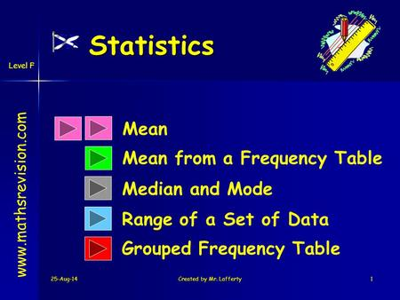 25-Aug-14Created by Mr. Lafferty1 Statistics Mean Mean from a Frequency Table Range of a Set of Data www.mathsrevision.com Median and Mode Grouped Frequency.