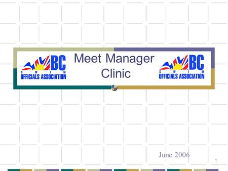 1 Meet Manager Clinic June 2006. 2 Today Commitment of the Meet Manager Decision to Host a Meet Meet Management Options and Considerations Meet Preparation.