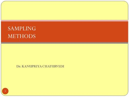 Dr. KANUPRIYA CHATURVEDI 1 SAMPLING METHODS. LEARNING OBJECTIVES 2 Learn the reasons for sampling Develop an understanding about different sampling methods.