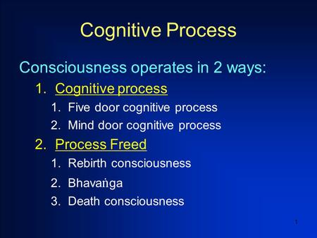 1 Cognitive Process Consciousness operates in 2 ways: 1.Cognitive process 1.Five door cognitive process 2.Mind door cognitive process 2.Process Freed 1.Rebirth.