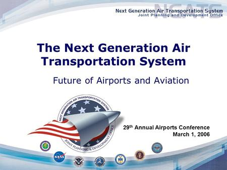 The Next Generation Air Transportation System Future of Airports and Aviation 29 th Annual Airports Conference March 1, 2006.