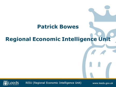 REIU (Regional Economic Intelligence Unit) Patrick Bowes Regional Economic Intelligence Unit.