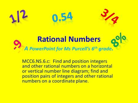 Rational Numbers A PowerPoint for Ms Purcell's 6 th grade. MCC6.NS.6.c: Find and position integers and other rational numbers on a horizontal or vertical.