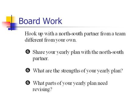 "Board Work. OBJECTIVES Outcome Based ""If you don't know where you're going, you can't get there."""