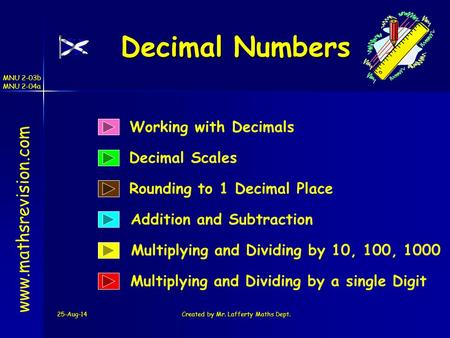 25-Aug-14Created by Mr. Lafferty Maths Dept. Working with Decimals Decimal Scales Decimal Numbers www.mathsrevision.com Multiplying and Dividing by 10,