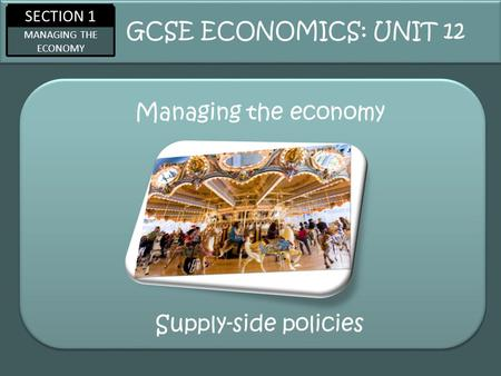 SECTION 1 MANAGING THE ECONOMY Managing the economy GCSE ECONOMICS: UNIT 12 Supply-side policies.