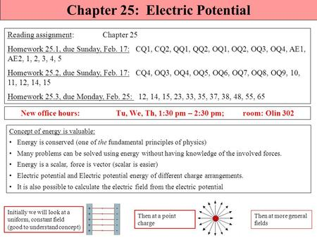 Q Chapter 25: Electric Potential Reading assignment: Chapter 25 Homework 25.1, due Sunday, Feb. 17: CQ1, CQ2, QQ1, QQ2, OQ1, OQ2, OQ3, OQ4, AE1, AE2,