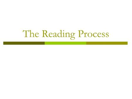 The Reading Process Begin with my journey towards learning about the reading process.
