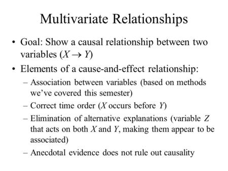 Multivariate Relationships Goal: Show a causal relationship between two variables (X  Y) Elements of a cause-and-effect relationship: –Association between.