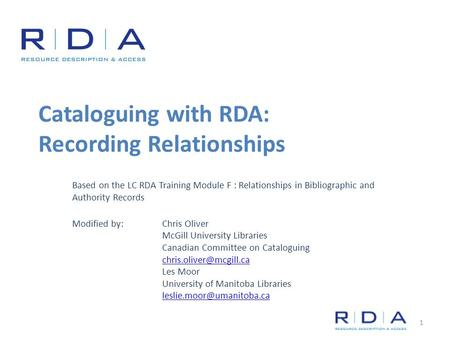 Cataloguing with RDA: Recording Relationships Based on the LC RDA Training Module F : Relationships in Bibliographic and Authority Records Modified by: