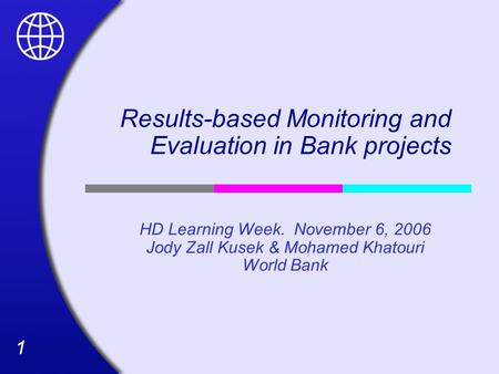 11 Results-based Monitoring and Evaluation in Bank projects HD Learning Week. November 6, 2006 Jody Zall Kusek & Mohamed Khatouri World Bank.