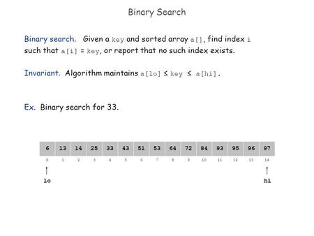 82134657109111214130 64141325335143538472939597966 Binary Search lo Binary search. Given a key and sorted array a[], find index i such that a[i] = key,