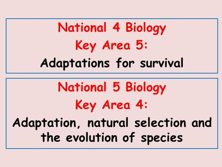 National 5 Biology Key Area 4: Adaptation, natural selection and the evolution of species National 4 Biology Key Area 5: Adaptations for survival.