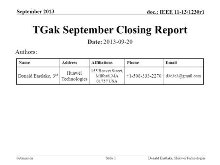 Submission doc.: IEEE 11-13/1230r1 September 2013 Donald Eastlake, Huawei TechnologiesSlide 1 TGak September Closing Report Date: 2013-09-20 Authors: NameAddressAffiliationsPhoneEmail.