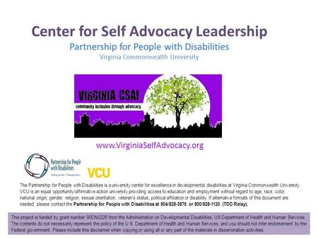 Center for Self Advocacy Leadership Partnership for People with Disabilities Virginia Commonwealth University The Partnership for People with Disabilities.