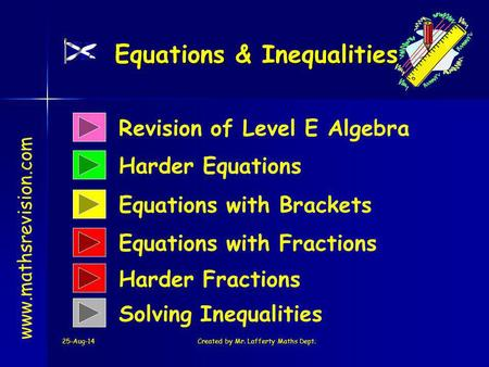 25-Aug-14Created by Mr. Lafferty Maths Dept. Revision of Level E Algebra Harder Equations Equations & Inequalities www.mathsrevision.com Equations with.