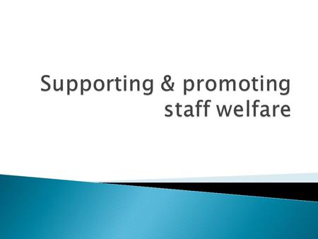 List 6 or 7 areas that you might expect staff welfare to cover other than basic safety and illness  Stress  Personal problems ( both in & out of work)