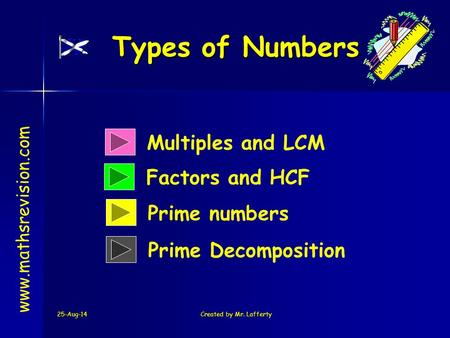 25-Aug-14Created by Mr. Lafferty Multiples and LCM Factors and HCF Types of Numbers www.mathsrevision.com Prime numbers Prime Decomposition.