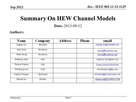 Doc.: IEEE 802.11-13-1135 Submission Sep 2013 Slide 1 Summary On HEW Channel Models Date: 2013-09-12 Authors: