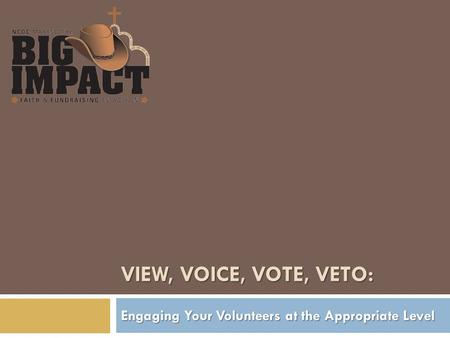 VIEW, VOICE, VOTE, VETO: Engaging Your Volunteers at the Appropriate Level.