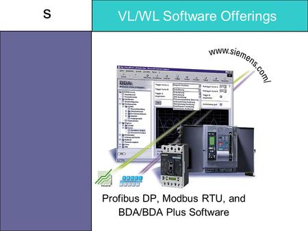 S VL/WL Software Offerings Profibus DP, Modbus RTU, and BDA/BDA Plus Software.