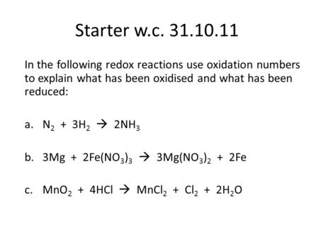 how to assign oxidation numbers to reactions