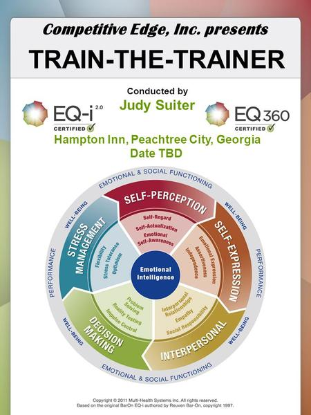 TRAIN-THE-TRAINER Competitive Edge, Inc. presents Conducted by Judy Suiter Hampton Inn, Peachtree City, Georgia Date TBD.