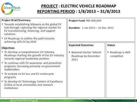 Copyright Reserved GreenTech Malaysia 1 Project Brief/Summary  Towards establishing Malaysia as the global EV hub through capturing the regional market.