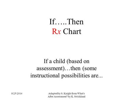 Adapted by S. Knight from What's After Assessment? by K. Strickland