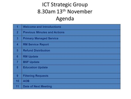 ICT Strategic Group 8.30am 13 th November Agenda 1Welcome and Introductions 2Previous Minutes and Actions 3Primary Managed Service 4RM Service Report 5Refund.