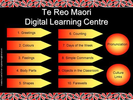 Te Reo Maori Digital Learning Centre 1. Greetings 2. Colours 3. Feelings 4. Body Parts 6. Counting 7. Days of the Week 8. Simple Commands 9. Objects in.