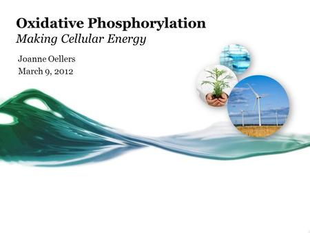 Oxidative Phosphorylation Making Cellular Energy Joanne Oellers March 9, 2012.