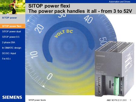 SITOP power facets A&D SE PS 22.01.2003 1 SITOP power Automation and Drives SITOP power flexi The power pack handles it all - from 3 to 52V SITOP power.