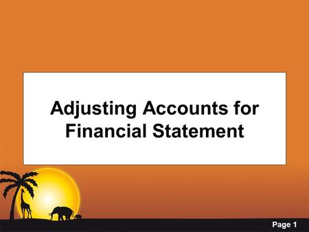 Adjusting Accounts for Financial Statement