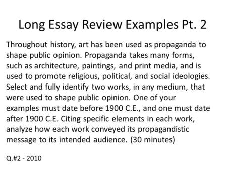 Long Essay Review Examples Pt. 2